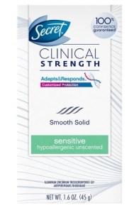 Secret Clinical Strength Smooth Solid Women's Antiperspirant Deodorant Sensitive Hypoallergenic