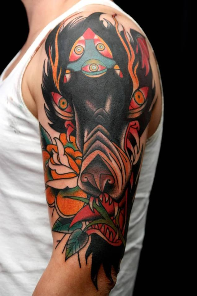 Red And Black Wolf Tattoo