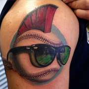 funky baseball tattoo with hair