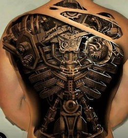 Amazing Black Ink Mechanical 3d Back Tattoo Design