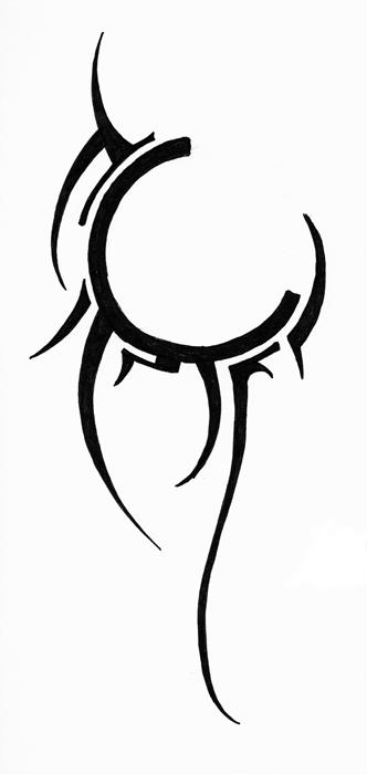 Black Ink Cool Tribal Circle Tattoo Design