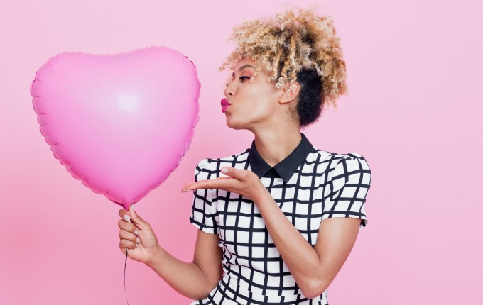 valentine's day girl with heart balloon