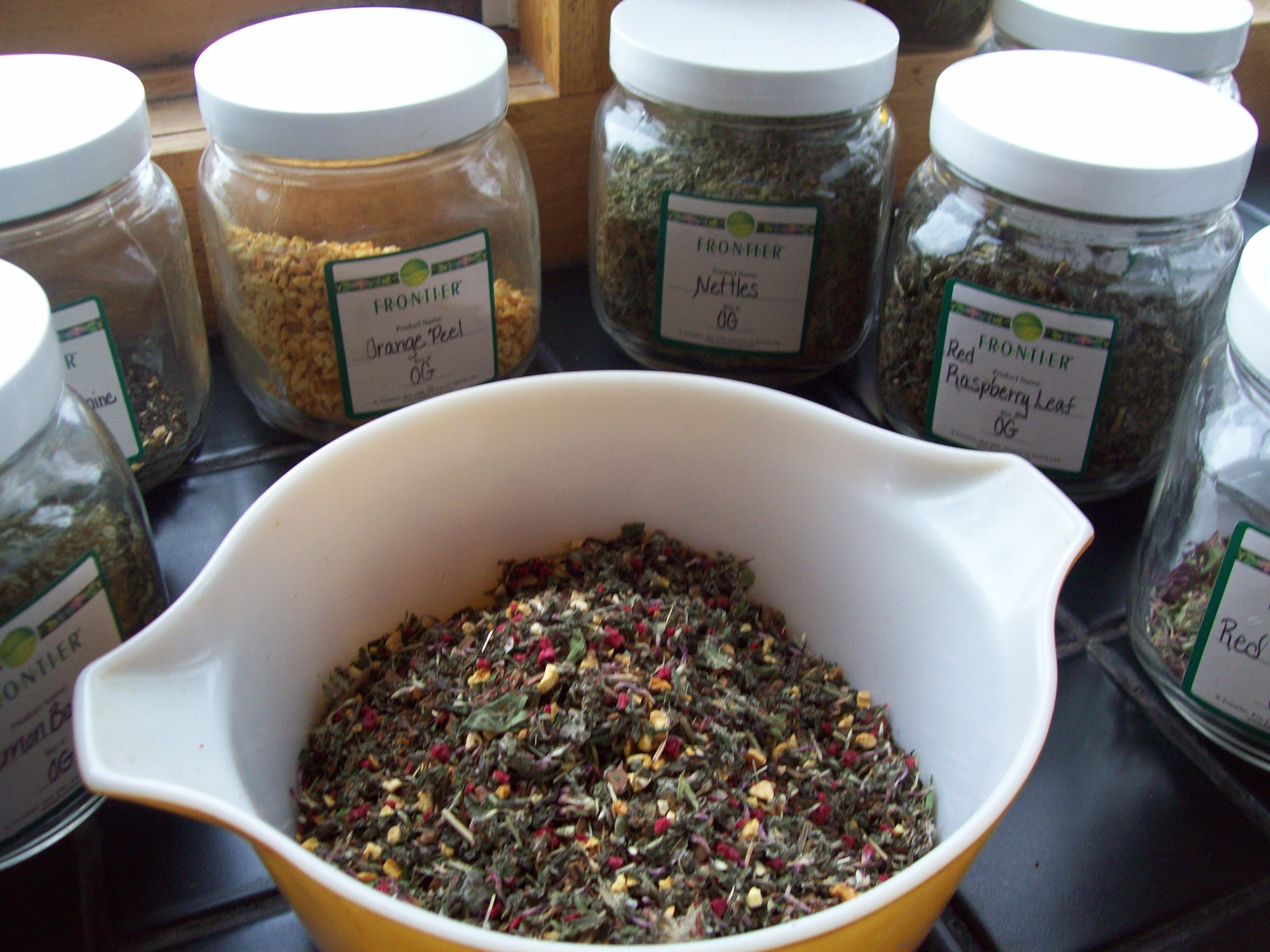 Mixing up tea for packaging and for me!