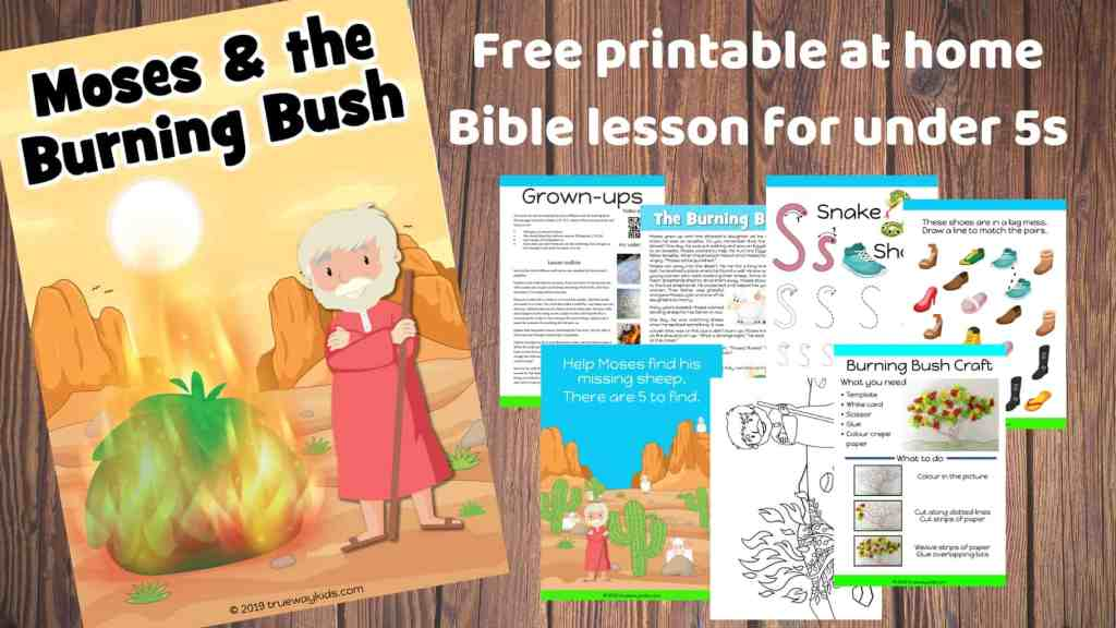 Moses and the Burning Bush preschool Bible lesson. Learn about obeying God and His promises.Games, Crafts, Activities, songs, lesson, worksheets and more.
