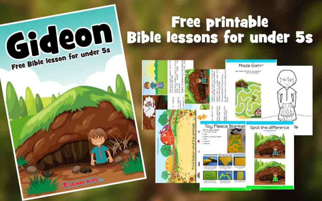 Gideon Bible lesson cover and worksheets