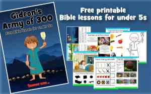Front cover of Gideon Bible lesson and example worksheets and printables