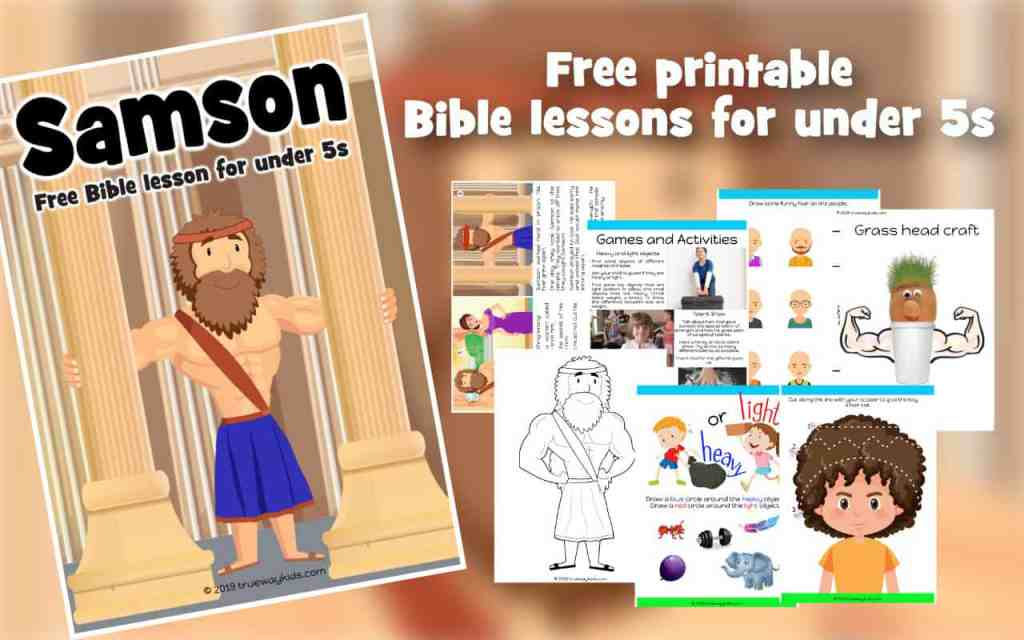 Samson Bible lesson for under 5s. Learn how God gives us special abilities and gifts. Includes story, worksheets, colouring pages, craft and more.