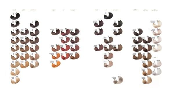 ph argan and keratin color chart - фарбкарта-палитра оттенков краски для волос