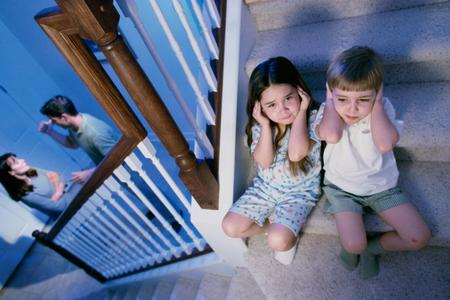 High angle view of a boy and girl listening to the