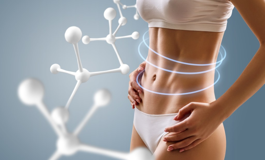 Woman with perfect body near big molecule chain. Slimming concept. Improvement of metabolism concept for building muscle after 40