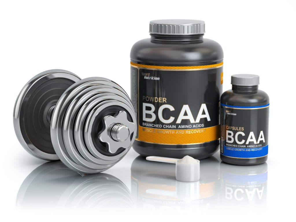 Vegan BCAA  branched-chain amino acid with scoop and dumbbell.Bodybuilder nutrition(supplement) illustration.