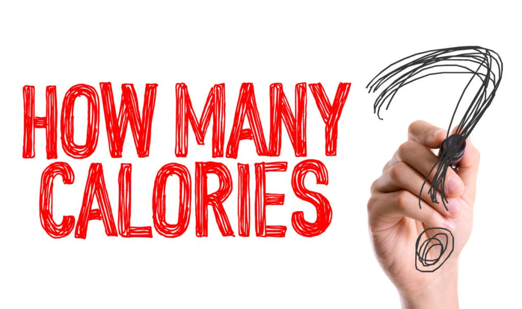 Red text saying how many calories with a black question mark, with the question how many calories should I eat to gain muscle.