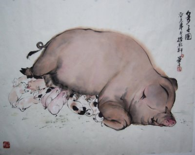 A Sow & Her Babes. Year of the Boar 2007.