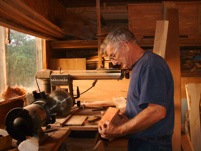 Ray Runion in woodshop