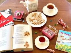 homemade animal crackers with tea, poetry, books