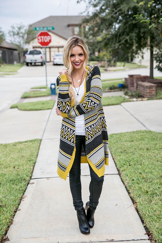 black and yellow cardigan
