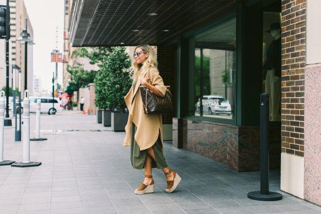 camel vest and olive dress