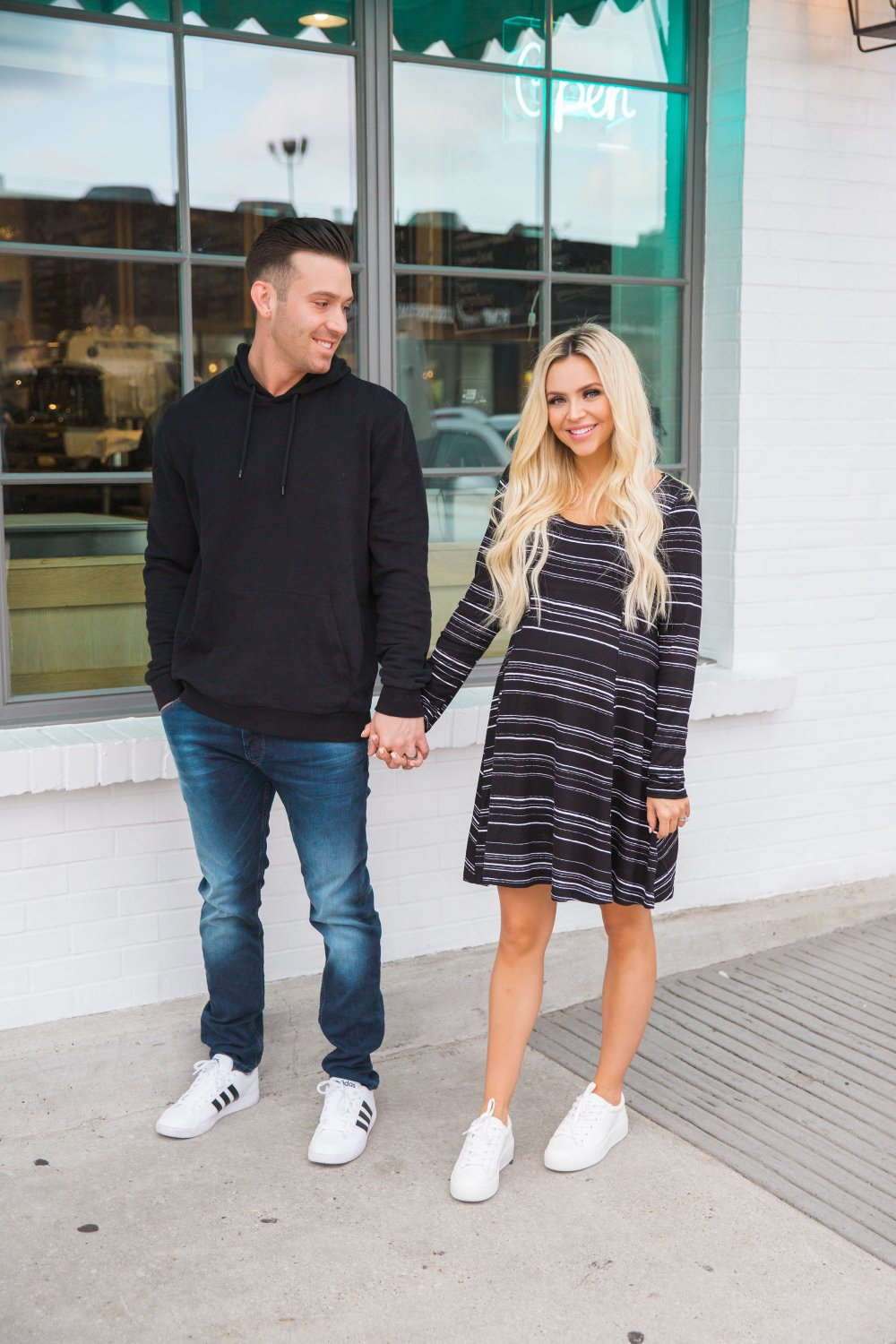 This simply soft dress is perfect for maternity wear! Sid is wearing some classic men's fashion staples! All from Norsdtrom!