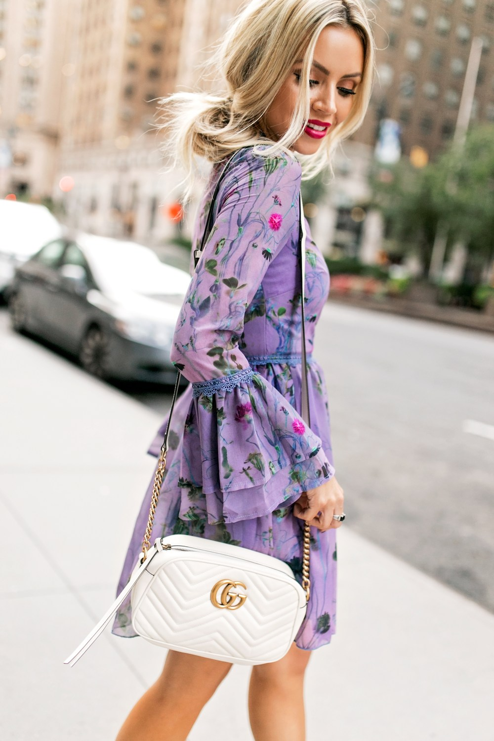 A fall floral dress with bell sleeves | The perfect shade of purple