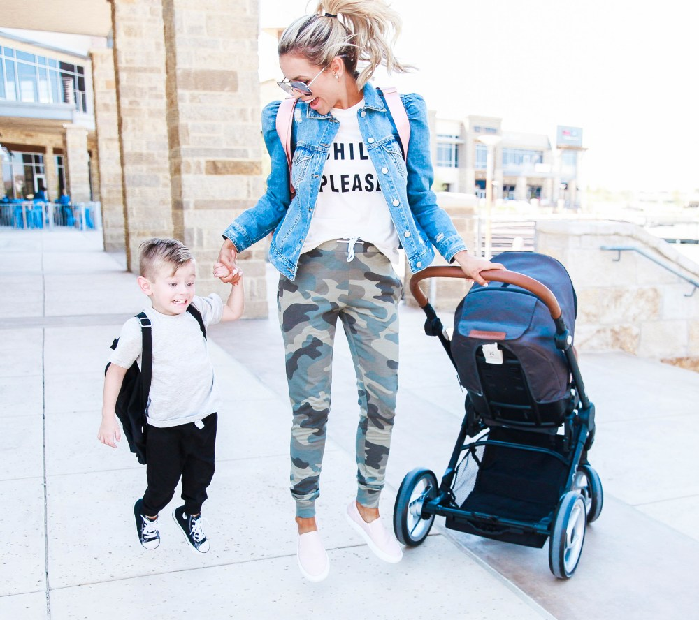 A simple but stylish mom outfit, perfect for running errands! Camo pants and graphic tee with jean jacket! Boy's jogger pants are in for kid's fashion too!