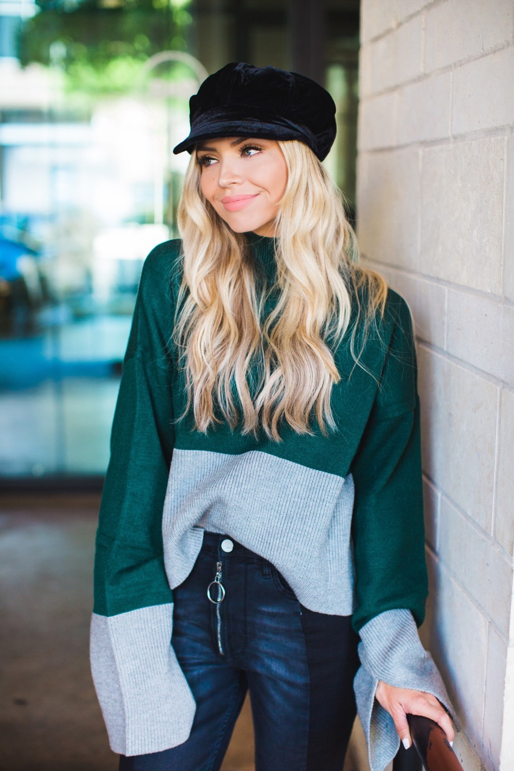 What a fun fall look! This sweater is super comfy and I am in love with the velvet hat!