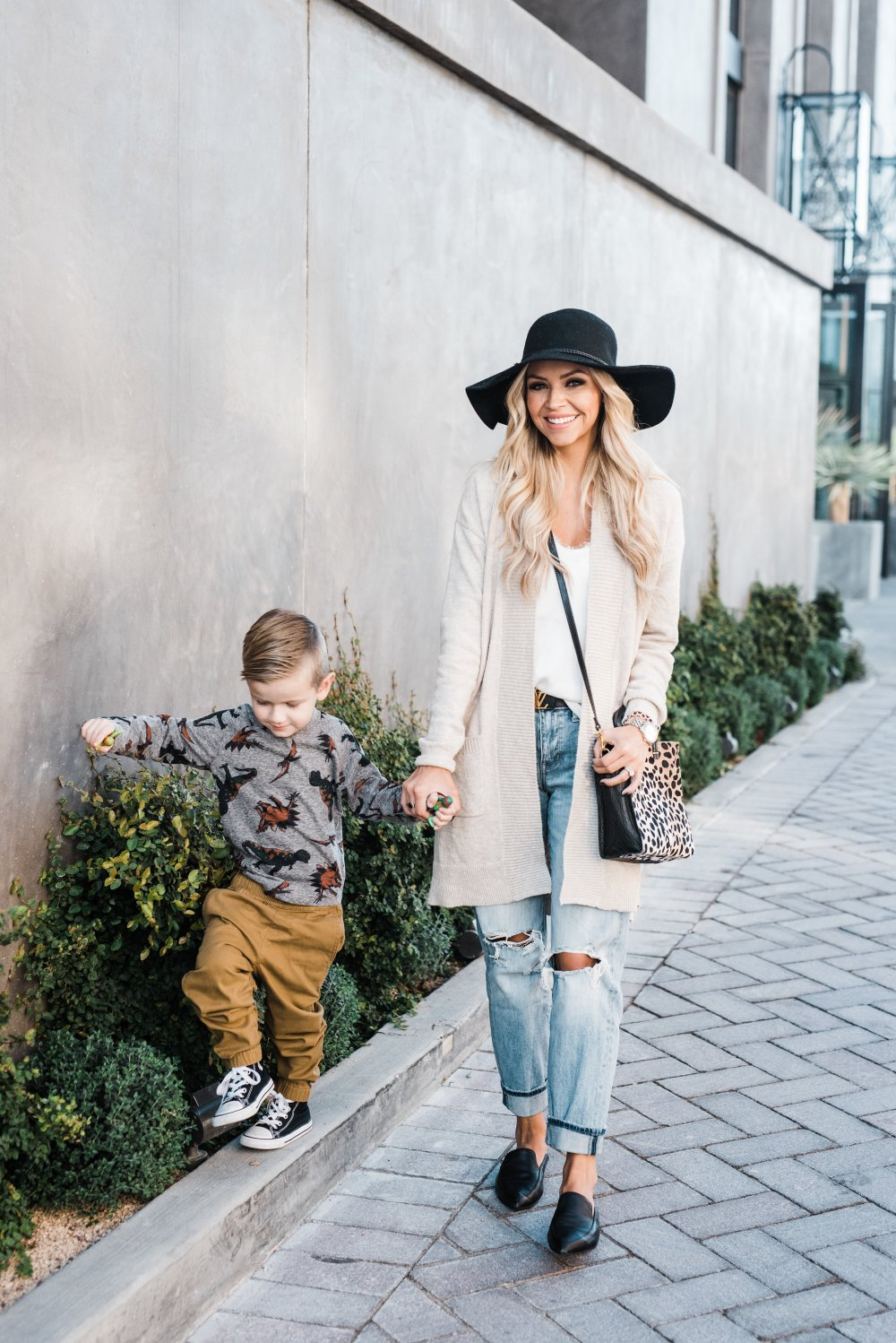 Toddler Boy Outfit! Truman is all about dinosaurs right now and I love this dino tee from Tucker + Tate! The have great quality items that are affordable! My outfit is perfect for fall and these distressed mom jeans are the bomb!