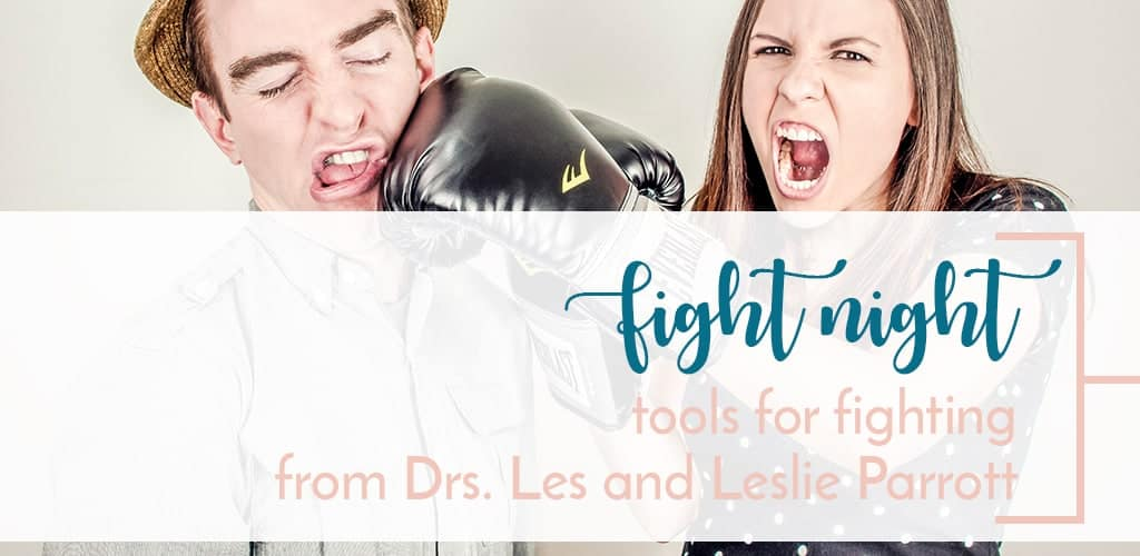 Couples boxing. Do you fight with your husband? The answer is yes. A review on Fight Night by Drs. Les and Leslie Parrott. Helpful tools for fighting as married couple
