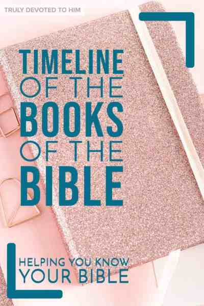 text Timeline of the Books of the Bible on pink glitter notebook