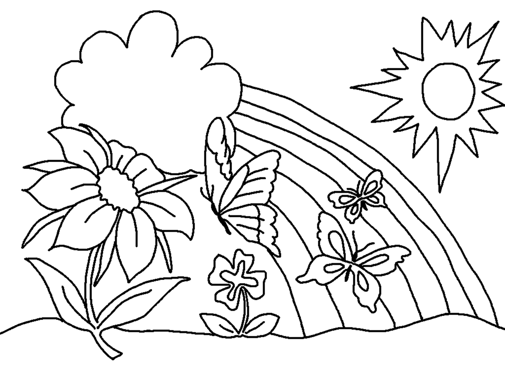 Spring Coloring Pages Flowers Rainbow Clouds Sun