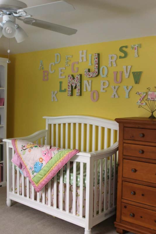 Letter Wall in Nursery with Baby's Initials Accentuated