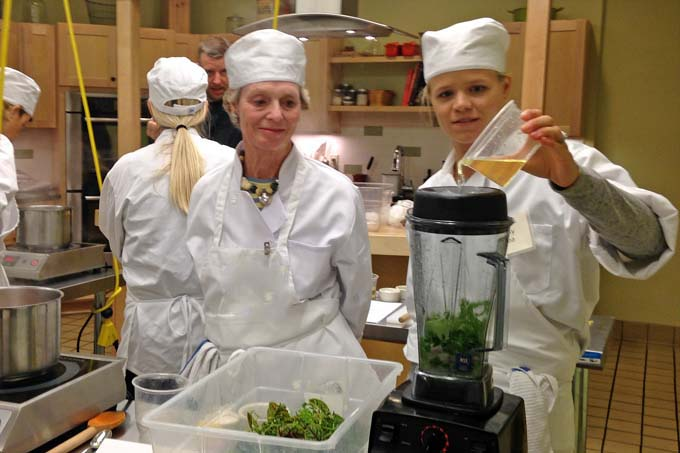 Making Herb Couli at Braise Cooking School
