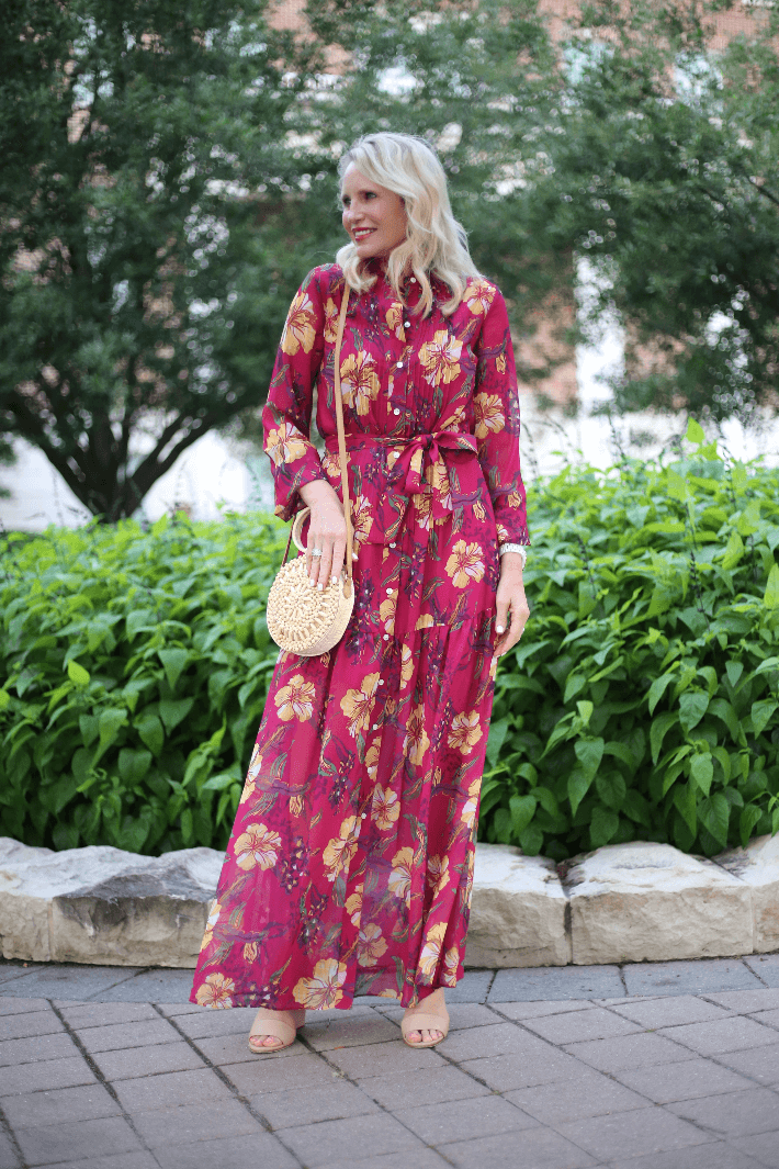 Dallas style blogger Truly Megan wearing W by Worth tropical print maxi dress from the Spring 2019 collection.