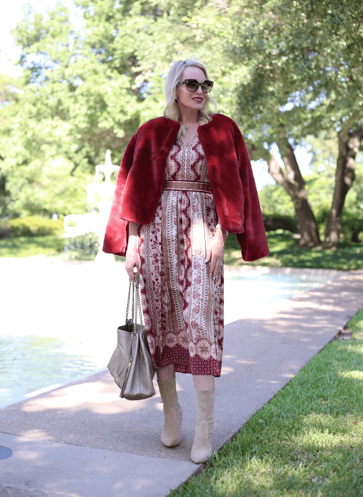 Style blogger Truly Megan wearing Gal Meets Glam Liza dress, Sanctuary Faux Fur Jacket, Stuart Weitzman Taupe Booties and carrying Gold Gucci Soho Chain bag.