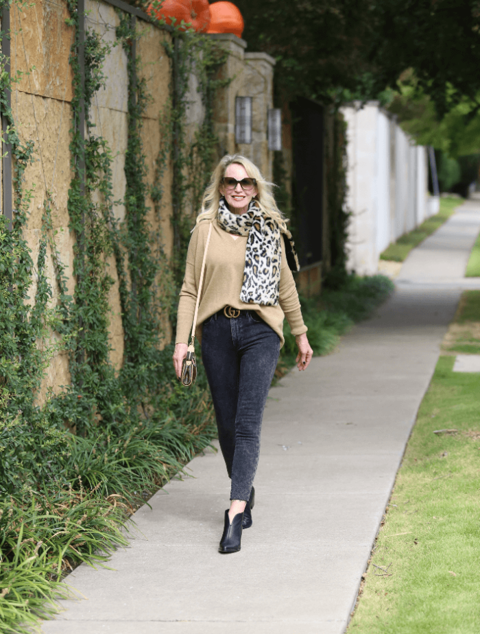A Casual Look For Crisp Fall Days | Camel & A Pop Of Leopard