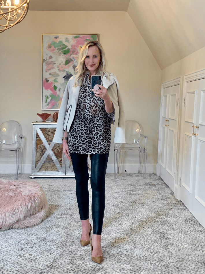 Dallas fashion blogger wearing spanx faux leather legging, leopard blouse and All Saints Dalby Leather Biker Jacket.