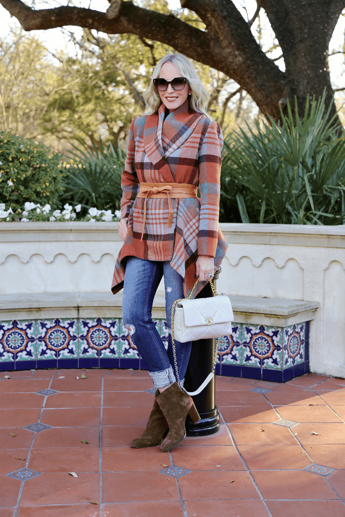 Dallas fashion blogger wearing Chicwish Robato Wrap Coat, Ada Collection Wrap Belt and carrying Chanel19 handbag.
