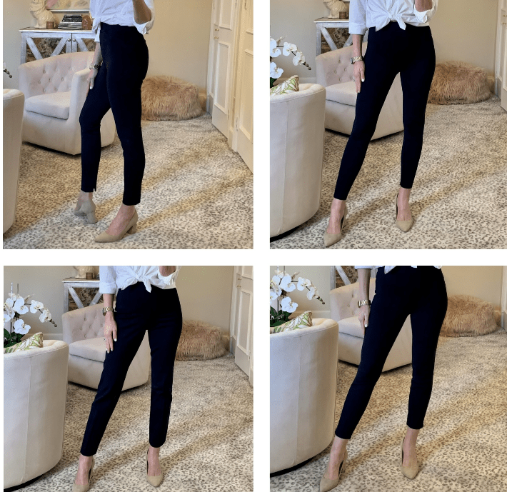 Dallas blogger wearing Spanx Perfect Pants in Classic Navy in all four silhouettes.