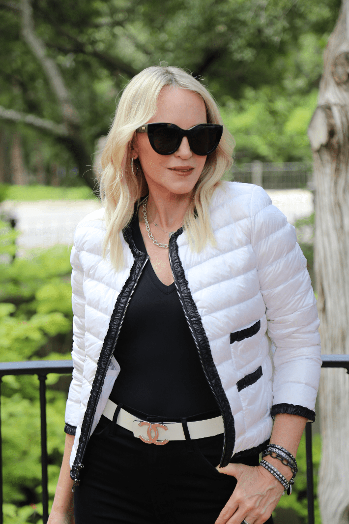 Dallas blogger wearing Cotes of London Buckingham Down Jacket in Ivory.