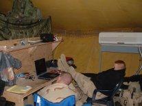 Tent living in the rainy season