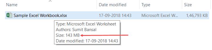 Reduce Excel File Size Test 1 Original