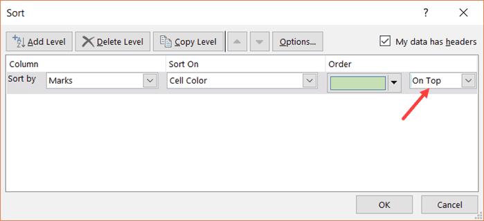 Ordenar por múltiples colores - Seleccionar en la opción superior