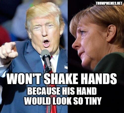 Trump Merkel handshake meme