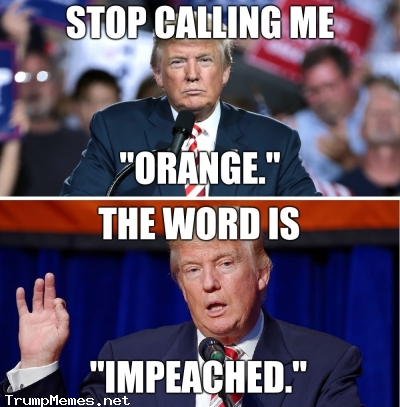 "Stop calling Trump orange. The word is ""impeached."""