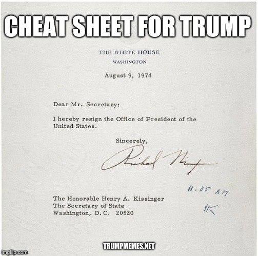 Nixon's resignation letter as a meme