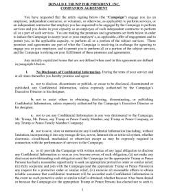 Trump's Post Service Agreement : NDA Page 1