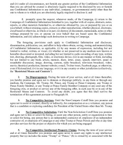 Trump's Post Service Agreement : NDA Page 2