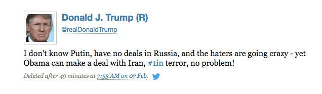 Trumps tweet conflicts with his 2013 TV interview