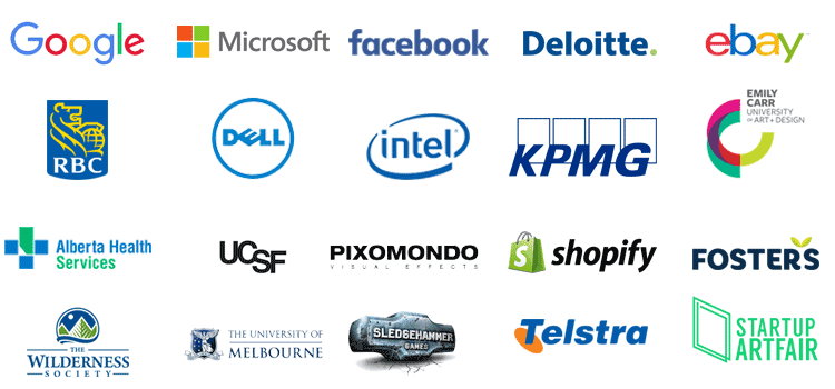 Google, Microsoft, Facebook, Deloitte, eBay, and other past clients.