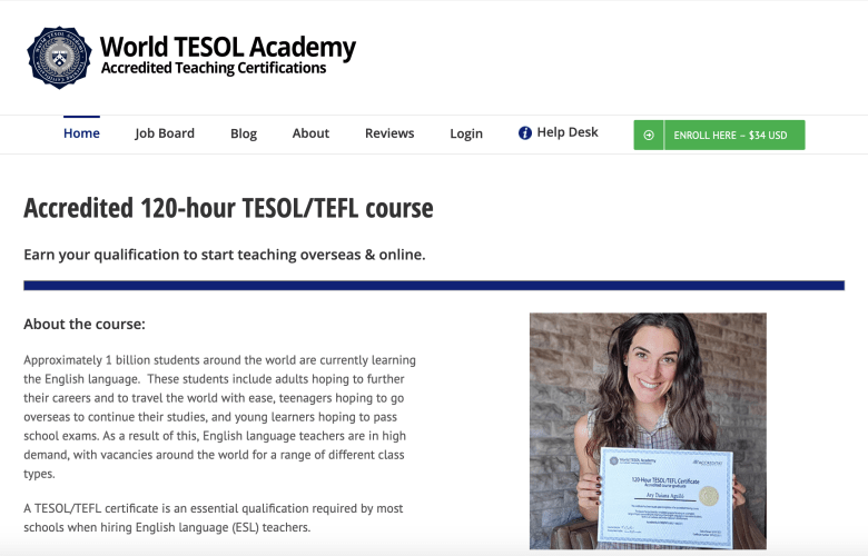 World TESOL Academy is not legitimate and is not accredited.