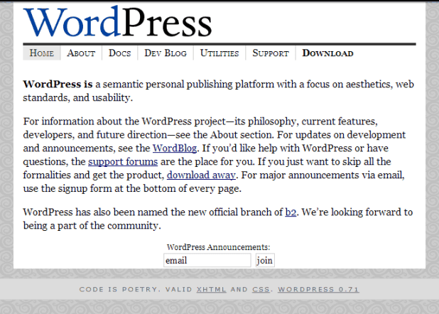 WordPress as looked in the past